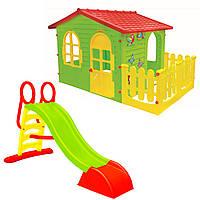 Детский домик игровой Mochtoys XXL + горка 180 см ПОЛЬША