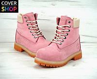 Ботинки женские Timberland - pink, материал - нубук, утеплитель - натуральный мех