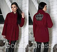 Женское кашемировое пальто с поясом и нашивкой (расцветки)