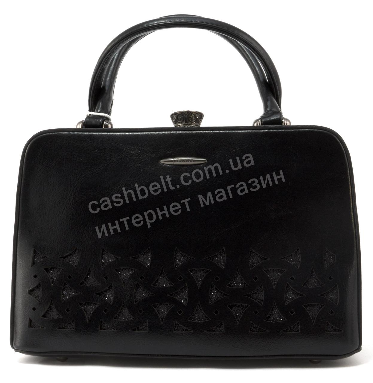 51f4552cddee Каркасная кожаная стильная прочная элегантная женская сумка GERNAS art.  G-173017 черная