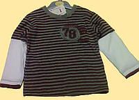 Реглан детский, в серо-бордовую полоску, с белыми рукавами, Хлопок
