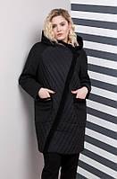Весенее стильное женское пальто большого размера черного цвета (48,50,52,54,56,58,60,62,64)