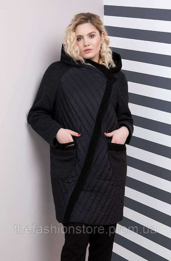 29e2bc89c49 Комбинированное стильное женское осеннее пальто большого размера черного  цвета (48