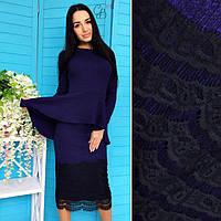 Женский костюм: кофта с баской и юбка с декором, в расцветках