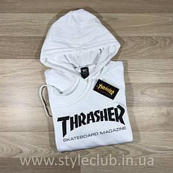 Толстовка белая Thrasher skateboards | худи Трешер | кенгуру трашер