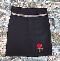 Детская юбка для девочки черная карандаш серебристый пояскок вышивка 134, 140, 146, 152см
