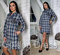 Женское платье-рубашка в клетку с поясом