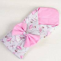 Конверт - одеяло на выписку демисезонный BabySoon Балеринки 80 х 85 см розовый, фото 1