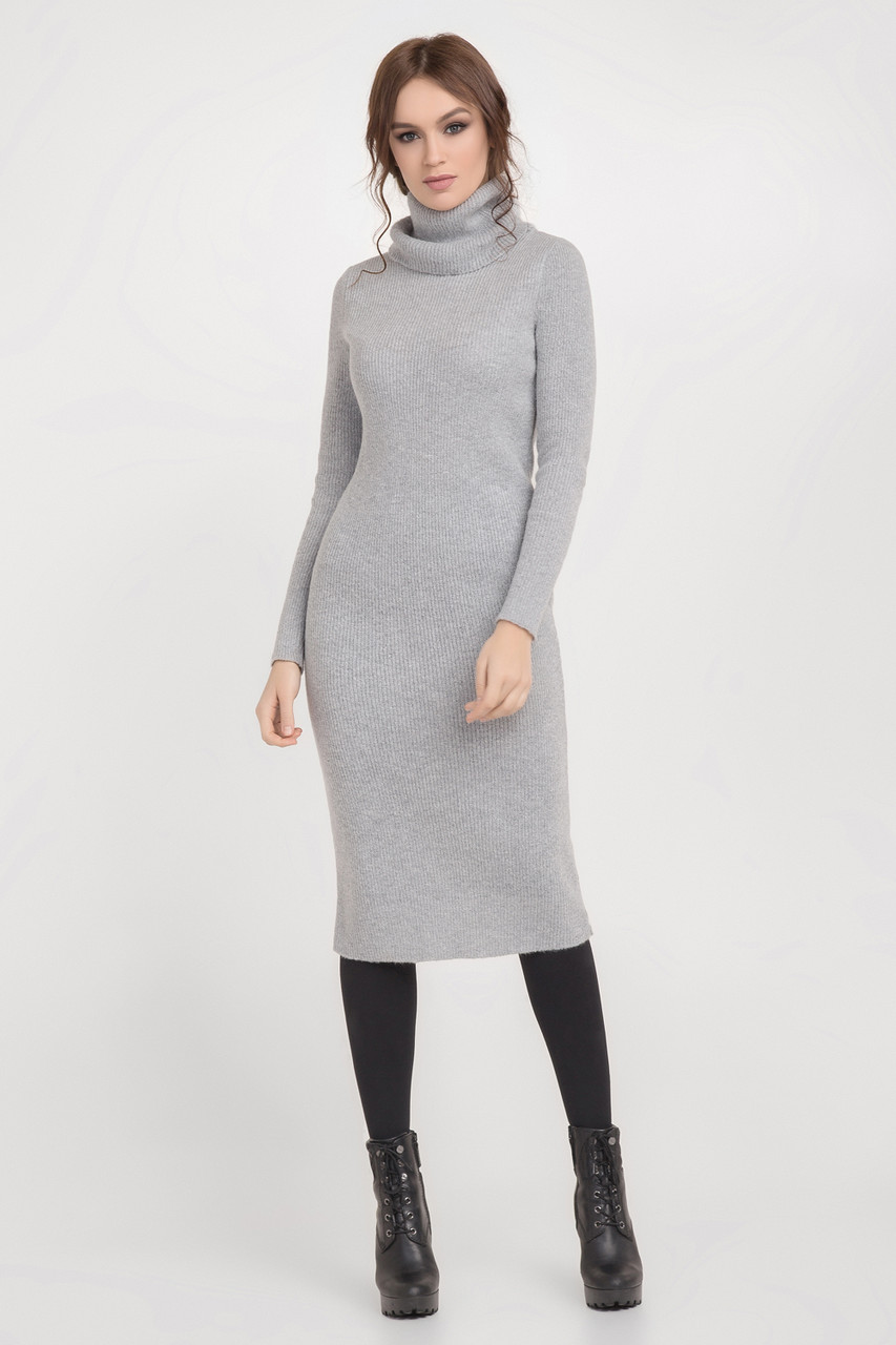 e7c71bf90c24bb9 Узкое женское платье с воротником-хомутом, светло-серого цвета ...