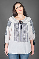 Жіноча літня біла етнічна блуза з чорною вишивкою №973-1