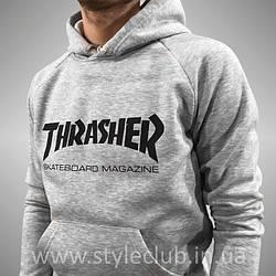 Толстовка серая Thrasher | худи Трешер | кенгуру трашер