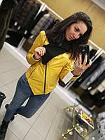 Кожаная куртка с капюшоном, цвет - желтый (горчичный)