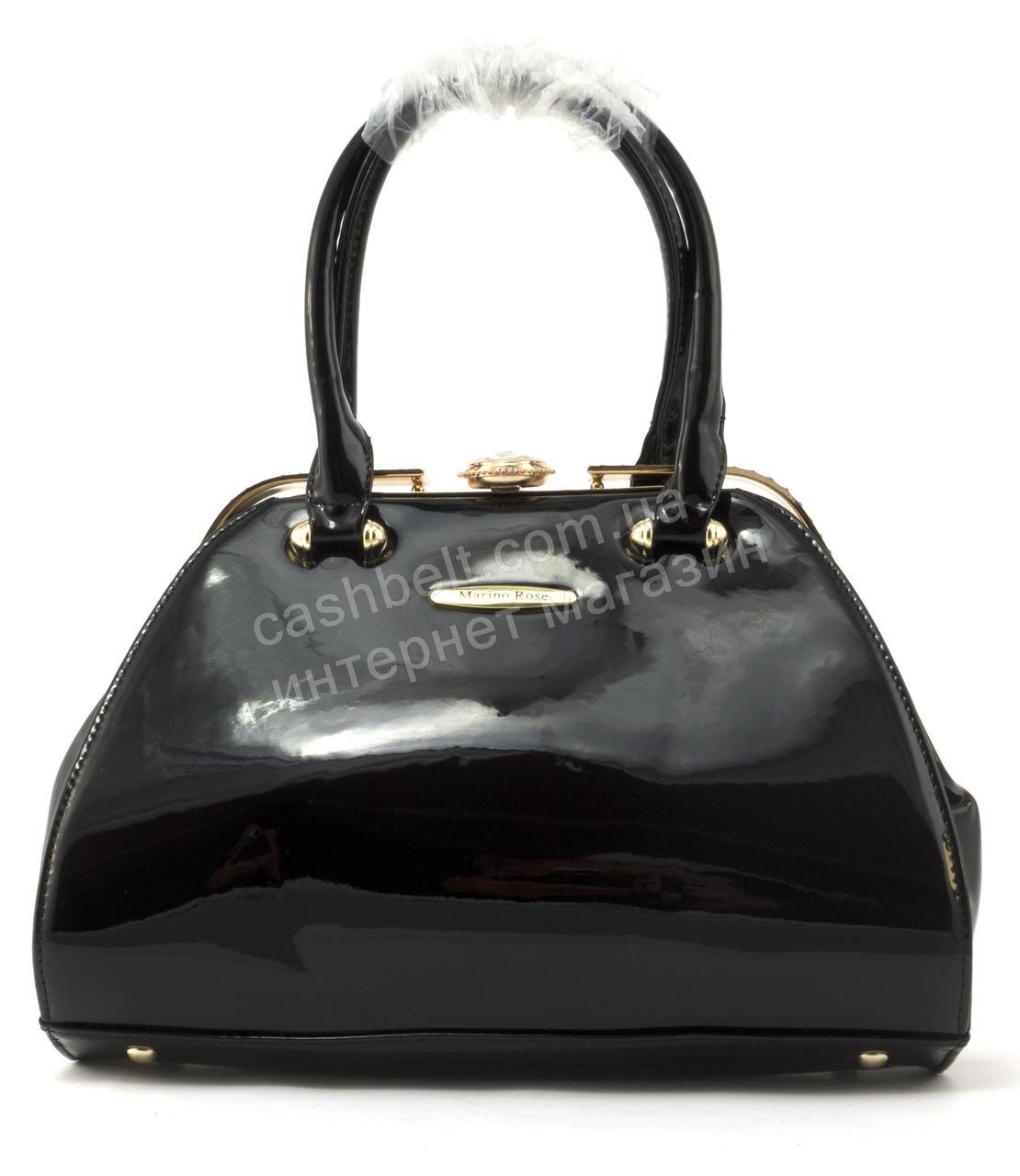 9a71857032c3 Элитная очень стильная средняя качественная лаковая сумка MARINO ROSEart.  67002 черная