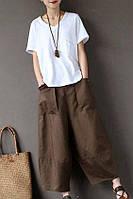 Женские льняные брюки с карманами большой размер. Цвет в ассортименте 4ХL-10XL, фото 1