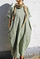Платье из льна оверсайз бохо боченком. Платье пляжное льняное любой длины. Разных цветов, фото 1