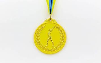 Медаль спортивна зі стрічкою двоколірна Гімнастика(1-золото, 2-срібло, 3-бронза) d-6,5 см10шт