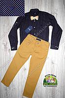 Стильный комплект темно-синяя рубашка Armani и горчичные брюки