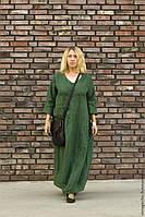 Платье  льняное длинное, впол. Зеленое и других цветов на выбор. Оверсайз, свободный крой, большой размер