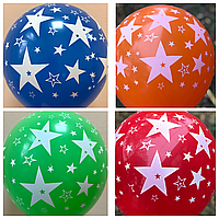 """Воздушные шары Звёзды шелкография 12"""" (30 см)"""