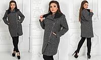 Оригинальное женское пальто с молнией сбоку и вязаным отложным воротником батал