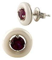 Серебряные серьги-пуссеты Ева с красным цирконием и белой керамикой 000065436
