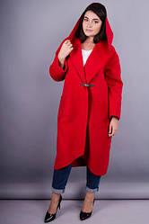 Елегантне жіноче пальто кардаган батал колір червоний  кашемір розмір 50 52 54 56 58 60 62 64