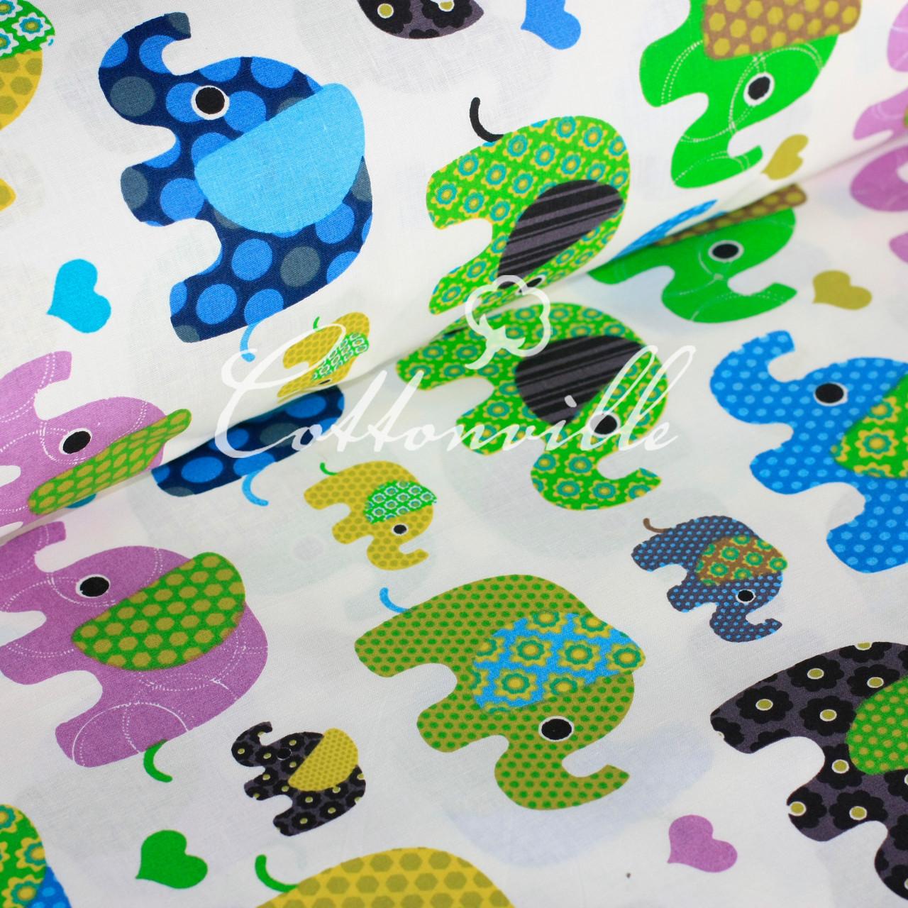 Хлопковая ткань Слоники разноцветные