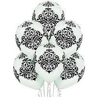 """Воздушные шары Дамаск14"""" (35см)бело черные"""