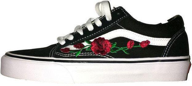 Женские кеды Vans Old Skool Roses Black (люкс копия)