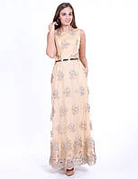 Enigma G 2118 Платье вечернее гипюровое с поясом и карманами