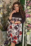 """Расклешенное комбинированное платье в цветочек """"LAURA"""" с рукавом 3/4 (большие размеры)"""