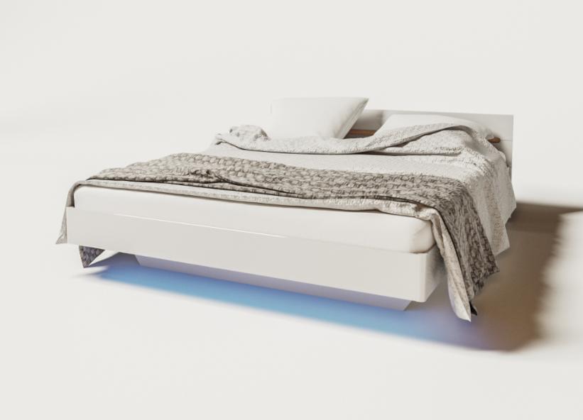 Ліжко з ДСП/МДФ в спальню 2-сп 1.6 (б/матрасу та каркаса) Б'янко Світ Меблів