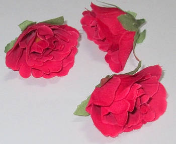 Головка розы 4,5 см, малиново-красная
