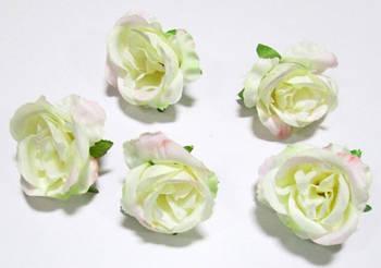 Головка розы 4,5 см розово-молочная
