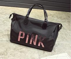 Сумка женская спортивная большая, дорожная черная Pink Victoria's Secret 1703-1