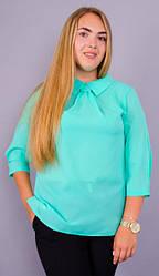 Блузка жіноча великих розмірів колір мята креп шифон 50 52 54 56 58 60 62 64