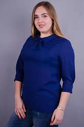 Блузка жіноча великих розмірів колір синій креп шифон 50 52 54 56 58 60 62 64