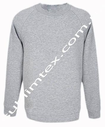 Свитшот, чесаный флис, мужской, серый меланж, вид покроя рукава- реглан, метод нанесения сублимация, размер L, фото 2