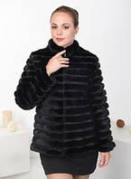 Куртка из норки чёрного цвета в роспуск с кожей 65 см