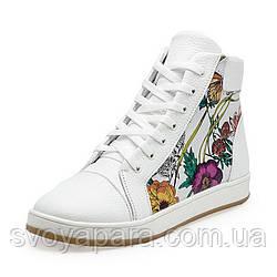 Кеды весенне-осенние подростковые для девочек белые кожаные (02981)