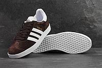 Кроссовки мужские Adidas Gazelle SD-4215 Материал замш. Коричневые с белым