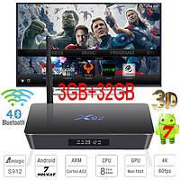 X92 3гб 32гб Amlogic S912 8 ядер Андроид 7 Смарт ТВ Бокс Smart Tv Box Android 7 Смарт приставка ТВ