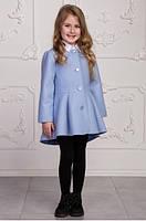 Демисезонное пальто для девочек из кашемира, голубое, рост от 104 до 122