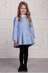 Демисезонное пальто для девочек из кашемира, голубое, рост 110