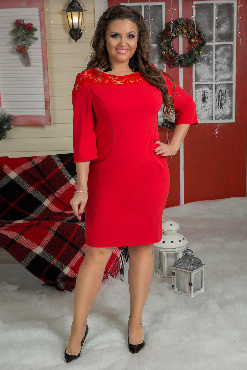 """Силуэтное нарядное платье """"Heather"""" с карманами и кокеткой (большие размеры)"""