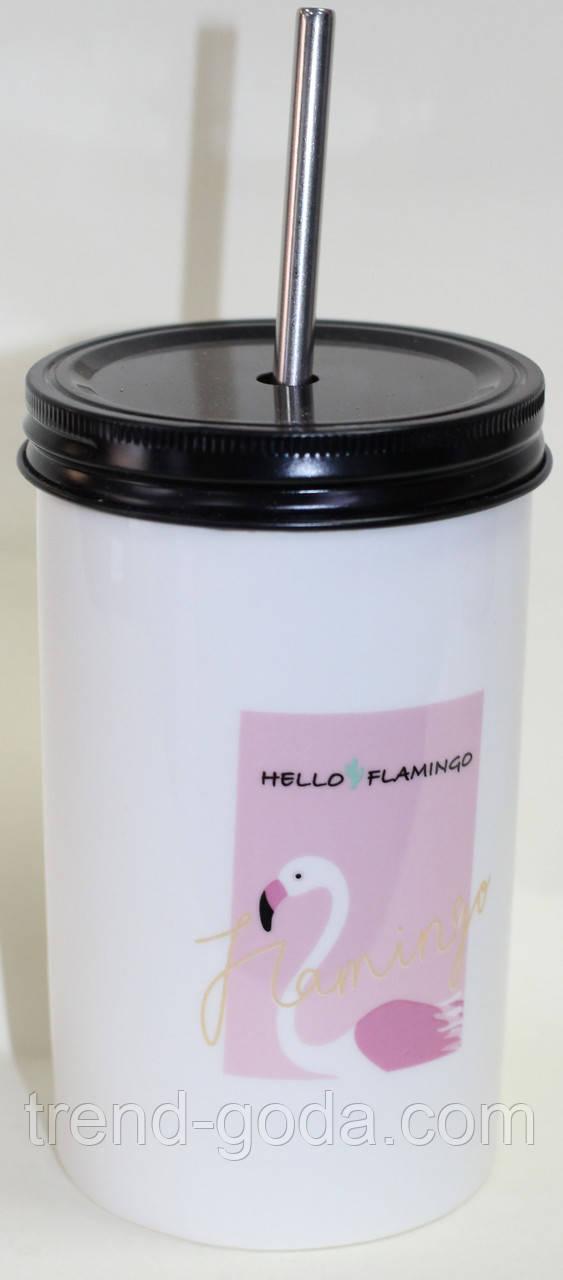 Керамический белый стакан с крышкой и трубочкой, розовый Фламинго