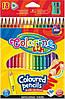 Карандаши цветные COLORINO, треугольные, 18 цветов, точилка, 57431PTR