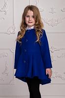 Демисезонное пальто для девочек из кашемира, электрик, рост от 104 до 122