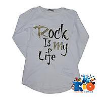 """Детский трикотажный батник """"Rock Is My Life""""(весна), для девочек 9-12 лет (4 ед в уп)"""