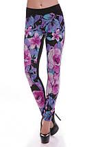 Женские лосиныс цветочным принтом спереди(Colored art), фото 2